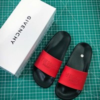 Givenchy Paris Logo Black Red Sandals - Best Online Sale