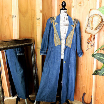 Long denim duster M 10 / 12 / 80s denim duster coat / western duster coat / embellished jean coat / denim maxi coat / jacket / City Girl USA