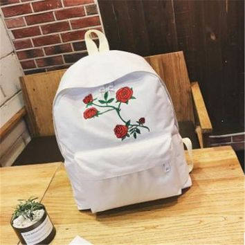 NIBESSER Kawaii Backpack Women Flower Embroidery Casual Backpack School Backbag Student Daypack Backpacks For Teenage Girls