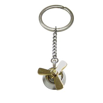 Gold and Silver Toned Propellor Keychain