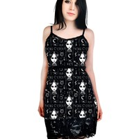 Rat Baby Goth Emo Lolita Dark Magic & Wednesday Addams Black Mini Bodycon Dress