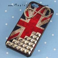 Vintage British Flag iPhone 4 4s 5 Case,INFINITY--One direction iphone case,Studded Flags iPhone Case,Directioner harry styles