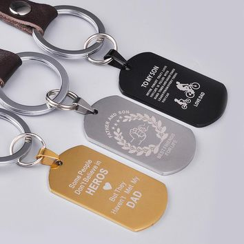 Personalized Leather & Stainless Steel Dog tag Pendant for Keychain Necklace