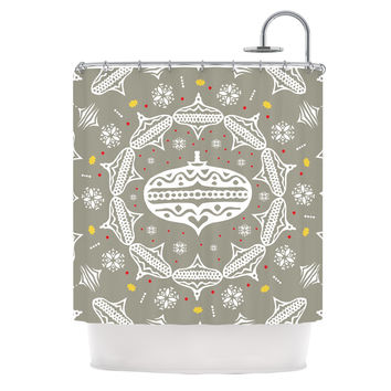 "Miranda Mol ""Deco Wreath Silver"" Gray Shower Curtain"