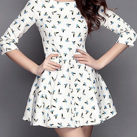 White Birds Print Half Sleeve Shirtwaist Mini Skater Dress