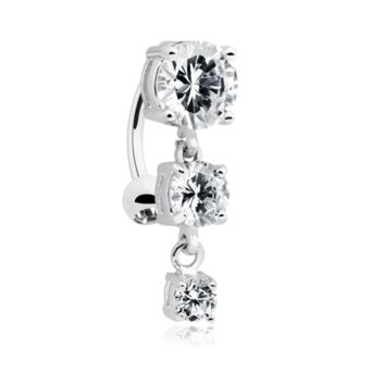 Brilliant Cascading Reverse Drop Top Belly Button Ring 14ga Navel Ring Body Jewelry Dangling