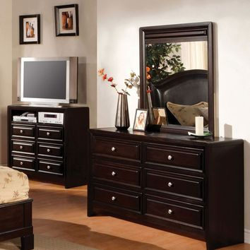 Hollman Contemporary 6-Drawer Dresser and Mirror in Espresso