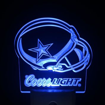 ws0173 Dallas Cowboys Helmet Coors Day/ Night Sensor Led Night Light Sign