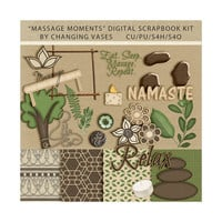 Digital Scrapbooking Kit, Massage Moments, Massage Therapy Clipart, Healing Arts Clip Art, Mindfulness, Meditation, Namaste, Commercial Use