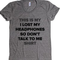 I Lost My Headphones-Female Athletic Grey T-Shirt
