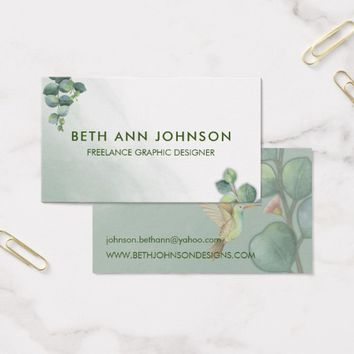 Eucalyptus Hummingbird Business Card Design