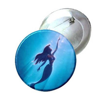 """2.25"""" Pinback Button - The Little Mermaid -swimming"""