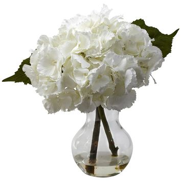 Silk Flowers -Blooming Hydrangea With Vase Artificial Plant
