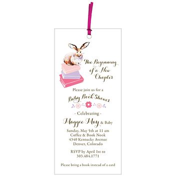 Baby Book Shower Invitation and Bookmark Gift