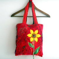 Mother's Day,Red Bag,Recycle Bag,Handbag Torn,Hippie Bag,Applique Handbags,Women Handbags,Fashion Handbags,Handmade Bag,Shoulder Bag