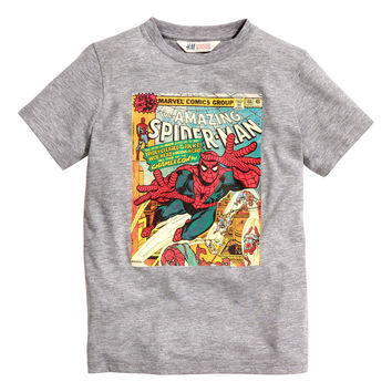 H&M - T-shirt with Printed Design - Gray/Spiderman - Kids