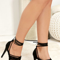 Turn It Up Black Leg Wrap Heels