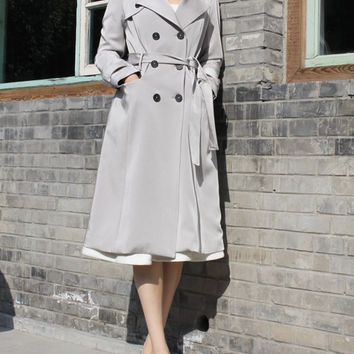 Grey Trench Coat Womens Long Grey Jacket Custom Tailored Womens Casual Coat