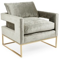 Bevin Accent Chair, Metal Velvet