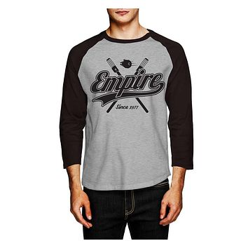 "Star Wars Empire baseball shirt-inspired ""EMPIRE"" baseball tee charcoal grey"