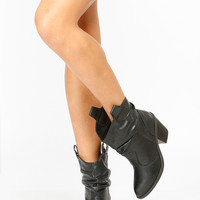 Black Faux Leather Slouchy Cowboy Boots