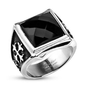 Square Onyx CZ Royale Cross Cast Ring 316L Stainless Steel