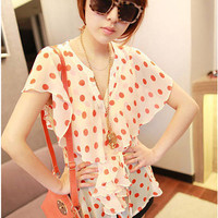 Sexy Sheer Polka Dot V Neck Short Sleeves Chiffon Shirt Blouse