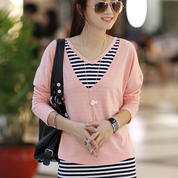 Reversible V-Neck Long Sleeve Striped Top