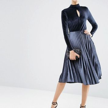 ASOS Velvet High Neck Midi Pleated Dress at asos.com