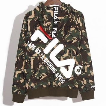 AAPE x FILA Joint Series New Tide Brand Men and Women Cardigan Zipper Hoodie green