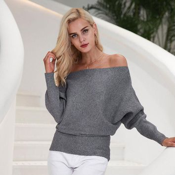 Chicloth Grey Off Shoulder Bat Long Sleeves Loose Fit Sweater