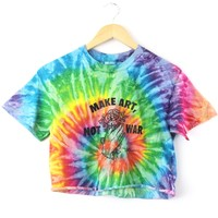 Make Art, Not War Bright Rainbow Tie-Dye Graphic Unisex Cropped Tee