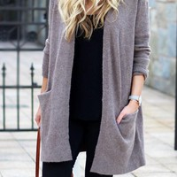 Coffee Pockets Oversize Office Worker/Daily Casual Cardigan Sweater