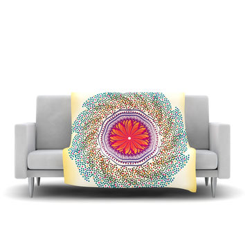 "Famenxt ""Confetti Dots Mandala"" Multicolor Abstract Fleece Throw Blanket"