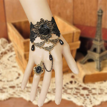 Vintage Lace Fashion Bracelet For Women Gift Black Rose Design National Characteristics Finger Finger Bracelet