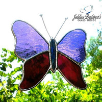 Purple Butterfly Suncatcher Purple Stained Glass Butterfly Sun Catcher Home Decor Window Decoration Stained Glass Art Butterfly Art
