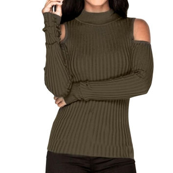 Off Shoulder Fashion Green Women Sweater Long Sleeve Knitted Pullover Slim Jumper Turtleneck Tops for Sexy Ladies#LSN