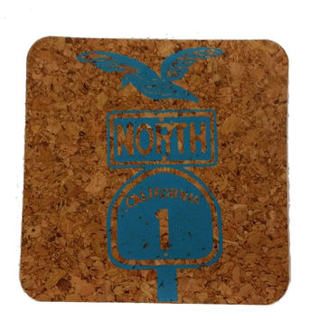 Pacific Coast Highway North-Coastal Cork Coasters-Hostess Gift/Party/Home Decor-Turquoise Blue