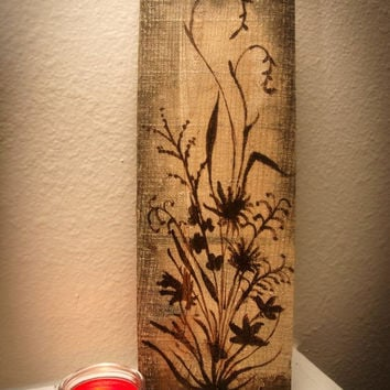 Rustic flower art painted on reclaimed wood, country accents, cottage chic, shabby chic, natural wood decor, boho