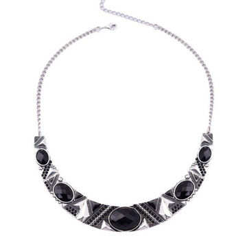 Statement Necklace 2016New Vintage Jewelry Silver Color Alloy Black Resin Bead Choker Necklace Fashion Bijoux Necklace For Women