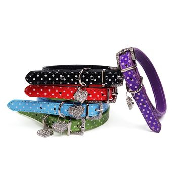 Pet Dog Pu Leather Heart Charm Buckle Neck Strap Polka Dot Rhinestone Training Adjustable Collar