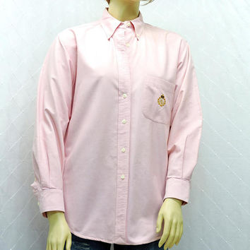 Ralph Lauren oxford shirt / size L / 13 / 14 / vintage 80s pink button down cotton shirt / Lauren boyfriend shirt
