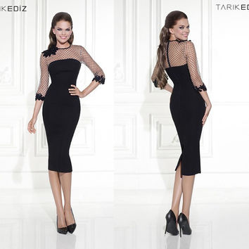 2017 High Neck Black Mermaid/Trumpet Cocktail Dress With Lace 3/4 Sleeves Appliques Split Back Prom Dress Party Gowns c66