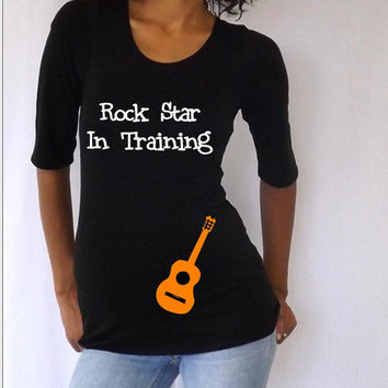 """Fun, Cute white Maternity Shirt :Rock star in training""""  3/4 sleeves Choose your Size M,L,XL"""