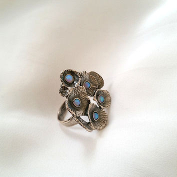 Large flower ring , Flower ring , bouquet ring , silver ring , Opal ring , unique silver ring , Large ring , floral ring , Gemstone ring