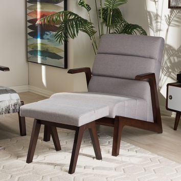 Baxton Studio Vino Mid-Century Modern Walnut Wood Grey Fabric Lounge Chair Set Set of 1