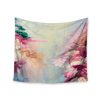 "Ebi Emporium ""Winter Dreamland 1"" Blue Maroon Wall Tapestry"