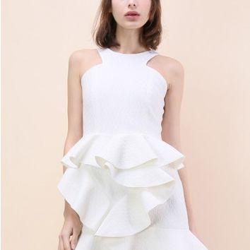Tiered Pep Ruffle Hem Dress in White