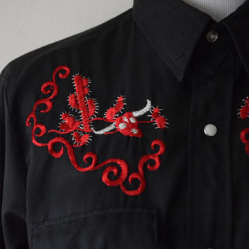 "60s ""Cowboy Joe"" by Atlantic Western Rodeo Shirt // Cactus & Steer Skull, Black and Red // Retro Rockabilly Elvis Psychobilly Style // Sz M"