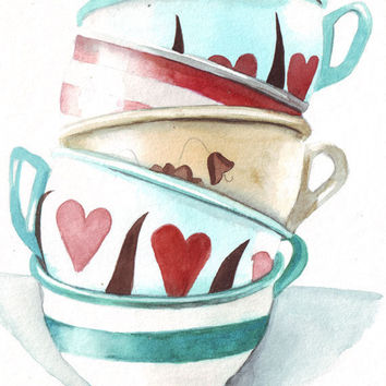 Original watercolor art tower of teacups stripes turquoise, red, yellow, pink painting